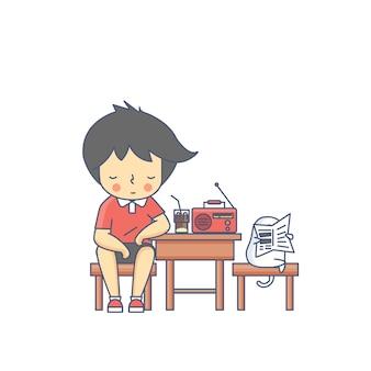 Chłopiec i psia słuchająca radiowa charakteru wektoru ilustracja