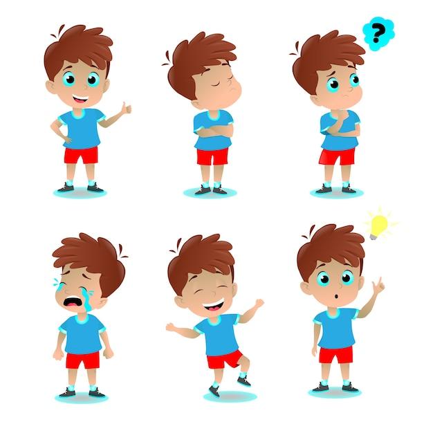 Chłopiec ilustracja wyrażenie emocji