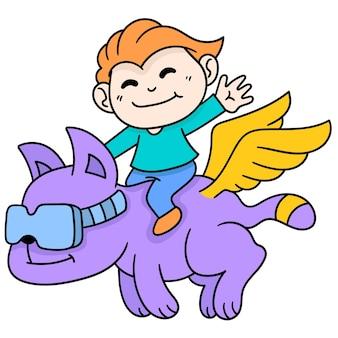 Chłopiec jedzie na fantastycznym zwierzęciu ze skrzydłami w kształcie tygrysa, doodle rysuj kawaii. sztuka ilustracji wektorowych