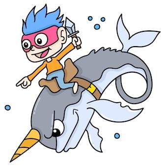 Chłopiec jedzie na rogatym wielorybie pływającym w podwodnym świecie, doodle rysuj kawaii. sztuka ilustracji wektorowych
