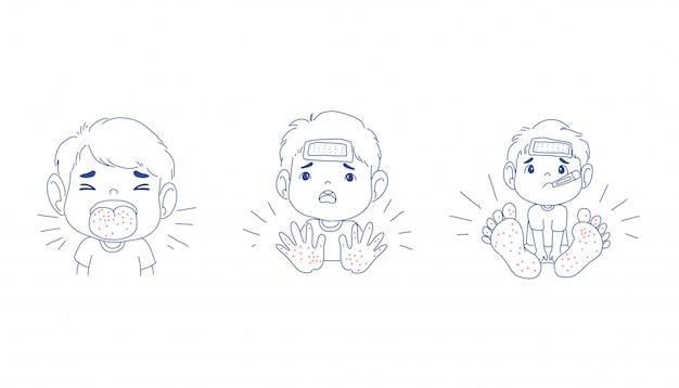 Chłopiec jest chorobą jamy ustnej dłoni
