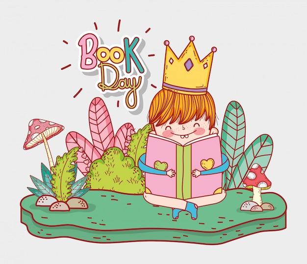 Chłopiec jest ubranym koronę czyta książkę z roślinami