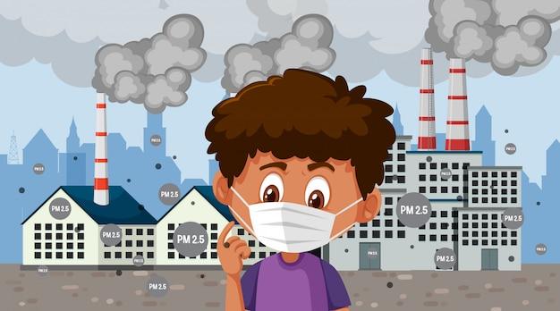 Chłopiec jest ubranym maskową pozycję przed fabrycznymi budynkami