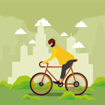 Chłopiec jeżdżący na rowerze