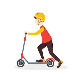 Chłopiec kid jeździ na skuterze. styl płaska konstrukcja.