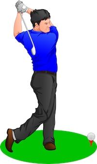 Chłopiec kreskówka golf gracz