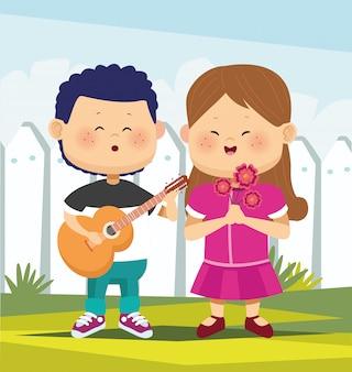 Chłopiec kreskówka gra na gitarze i śpiewa dziewczynę z kwiatami na białym płocie, projekt colorfu l, ilustracji wektorowych