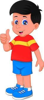 Chłopiec kreskówka kciuki do góry