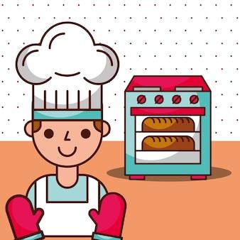 Chłopiec kreskówka kucharz czeka chleb w piekarniku pieczone