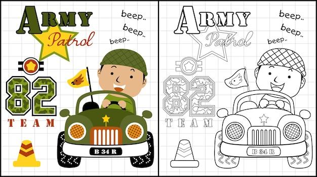 Chłopiec kreskówka na pojazd wojskowy zabawce