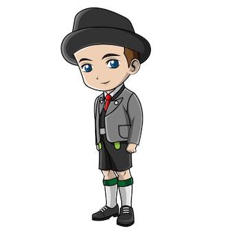 Chłopiec kreskówka na sobie kostium niemiecki