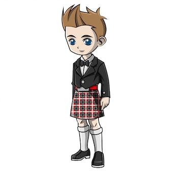 Chłopiec kreskówka na sobie kostium szkocji