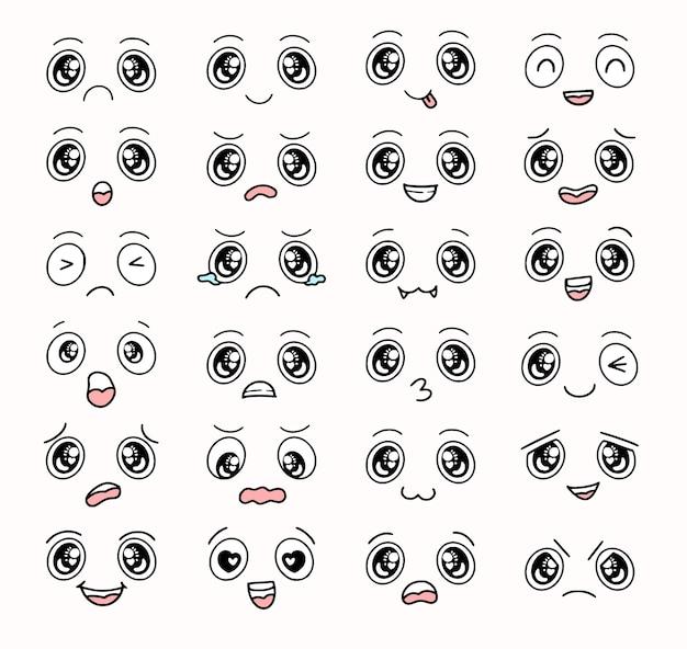 Chłopiec kreskówka oczy i twarze zestaw kolekcja kolekcja