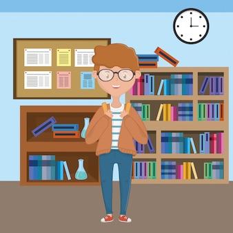 Chłopiec kreskówka szkolnego projekta