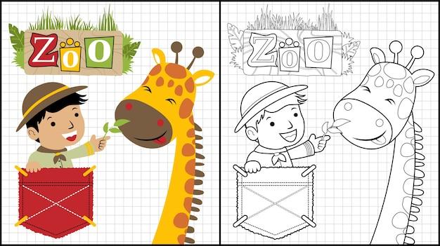 Chłopiec kreskówka z śmieszną żyrafą
