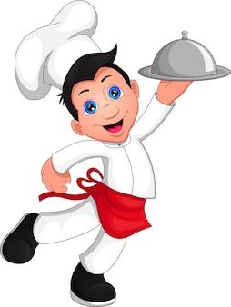 Chłopiec kucharz kreskówka na białym tle