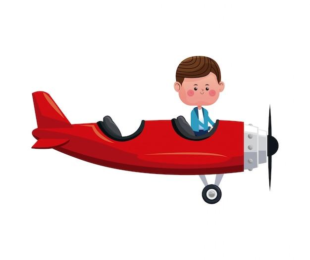 Chłopiec latać czerwony samolot uroczy