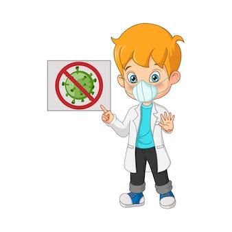 Chłopiec lekarz w masce ze znakiem koronawirusa