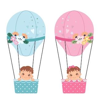 Chłopiec lub dziewczynka płeć ujawnić clipart słodkie dziecko w balonie na ogrzane powietrze płaski wektor kreskówka projekt