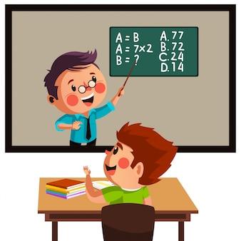 Chłopiec ma lekcje matematyki online podczas nauki w domu