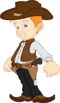 Chłopiec ma na sobie kostium kowboja zachodniej