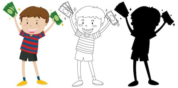 Chłopiec mienia banknoty w kolorze, kontur i sylwetka