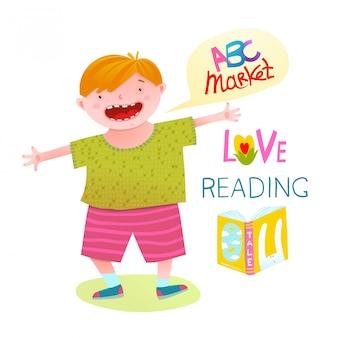Chłopiec miłość czyta szczęśliwą kreskówkę