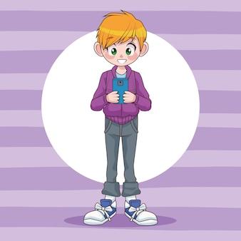 Chłopiec młody nastolatek za pomocą ilustracji postaci urządzenia smartphone