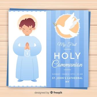 Chłopiec modląc się zaproszenie pierwszej komunii