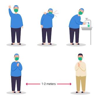 Chłopiec muzułmanin zapobiegający rozprzestrzenianiu się wirusa grypy płaski charakter