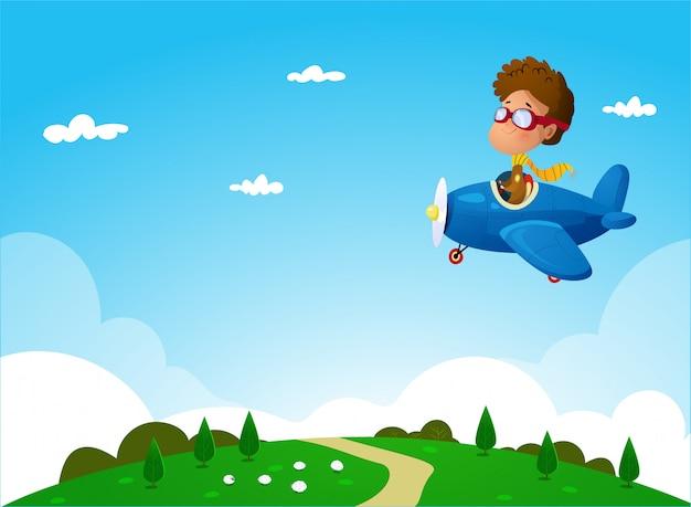 Chłopiec na samolocie nad naturalną krajobrazową ilustracją