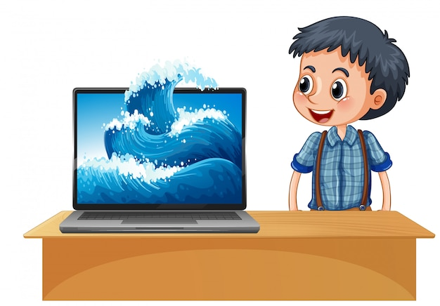 Chłopiec obok laptopa z falą na tle ekranu