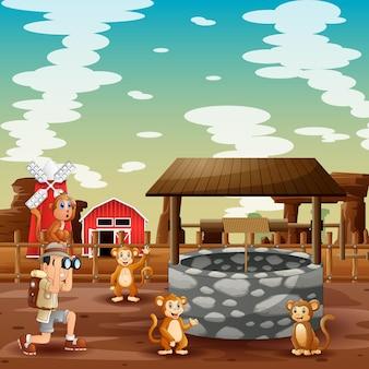 Chłopiec odkrywca i małpy na ilustracji farmy