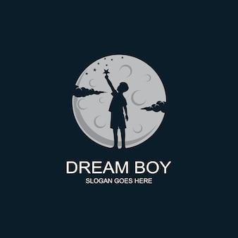 Chłopiec osiągający logo gwiazdy