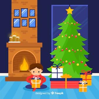 Chłopiec otwarcie przedstawia boże narodzenie ilustrację