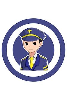 Chłopiec pilot w ilustracja kreskówka dzień pracy