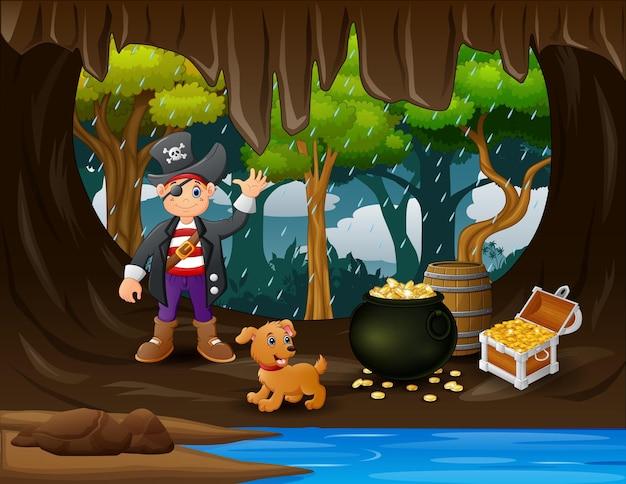 Chłopiec pirat na ilustracji jaskini skarbów