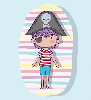Chłopiec pirat w kapeluszu z czaszki i kości