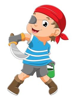 Chłopiec piratów trzyma miecz i wiadro z ilustracjami