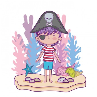 Chłopiec piratów z roślin wodorostów i rozgwiazdy