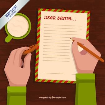 Chłopiec pisanie listę życzeń z plików cookie