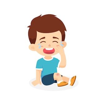 Chłopiec płacze rannych