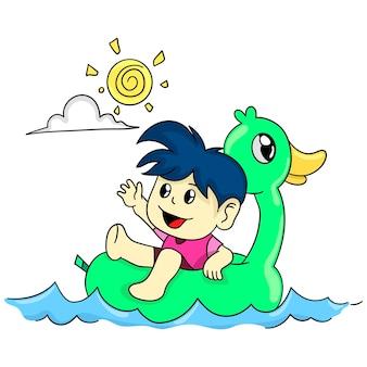 Chłopiec pływa w słoneczną pogodę. ilustracja kreskówka śliczna naklejka