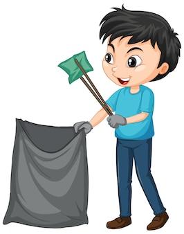 Chłopiec podnoszący śmieci na na białym tle