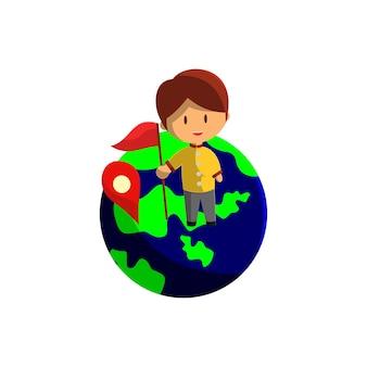 Chłopiec podróżuje po kuli ziemskiej. ilustracja wektorowa postaci na temat światowej turystyki