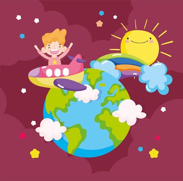 Chłopiec podróżuje po świecie