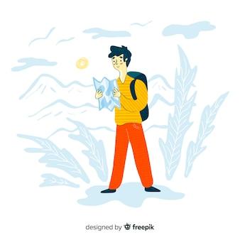 Chłopiec podróży ręcznie rysowane projekt