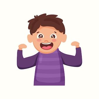 Chłopiec pokazuje swoją siłę. mięśnie. ilustracja wektorowa w stylu płaski