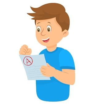 Chłopiec pokazuje wyniki testu z a