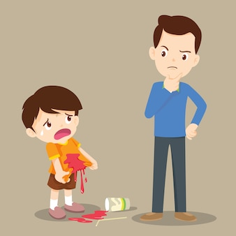 Chłopiec poplamił koszulę z tatą